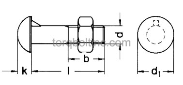 DIN 607 – Round Head Nip Bolts With Nuts Dimensions