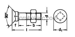DIN 608 – Countersunk Square Bolts (Short Neck) Dimensions