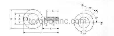 DIN 444 A – Eye Bolts Dimensions