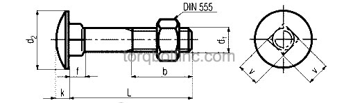 DIN 603 Mu – Carriage Bolts With Hexagon Nuts Dimensions