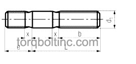 DIN 835 Fo – Studs, Tap Ends – 2d Dimensions