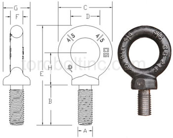 eye bolts no shoulder Dimensions