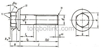 Hexagon Flange Bolts DIN 6921 Dimensions