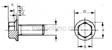 Serrated Flange Bolts Dimensions